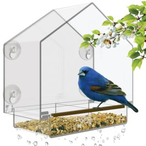 Natures Hangout Window Bird Feeder with High Pitched Roof